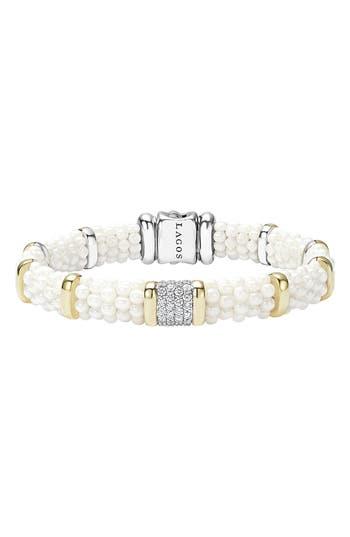 Women's Lagos 'White Caviar' Diamond Station Bracelet