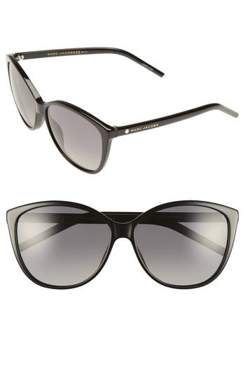 Women's Marc Jacobs 58Mm Polarized Butterfly Sunglasses - Black