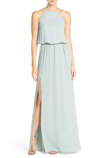 Show Me Your Mumu Heather Chiffon Halter Gown, Grey