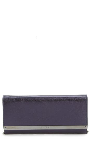 Jimmy Choo 'Milla' Etched Metallic Spazzolato Leather Flap Clutch -