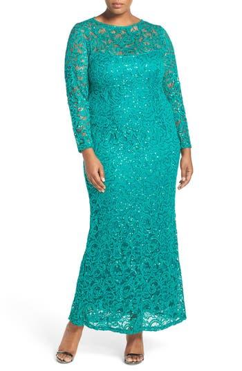 Plus Size Marina Illusion Yoke & Long Sleeve Lace Gown