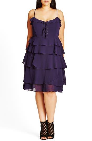 Plus Size City Chic Lace-Up Ruffle Fit & Flare Dress, Purple