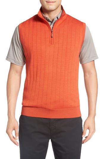 Bobby Jones Quarter Zip Wool Sweater Vest, Orange