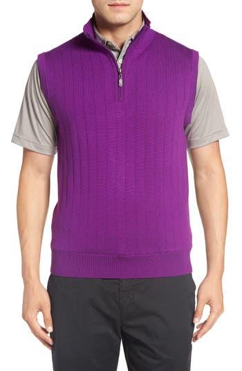 Bobby Jones Quarter Zip Wool Sweater Vest, Purple