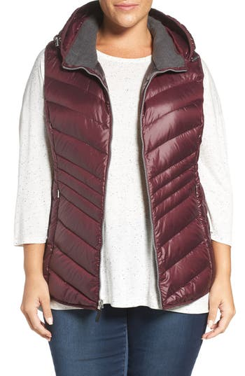 Plus Size Andrew Marc Hooded Down Vest
