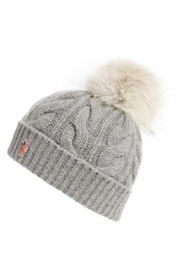 MONCLER  BERRETO  WOOL   CASHMERE CABLE KNIT BEANIE WITH GENUINE COYOTE FUR  POM - c38fadbc2f27