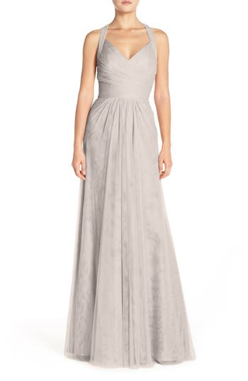 Monique Lhuillier Bridesmaids Sleeveless V-Neck Tulle Gown, Grey