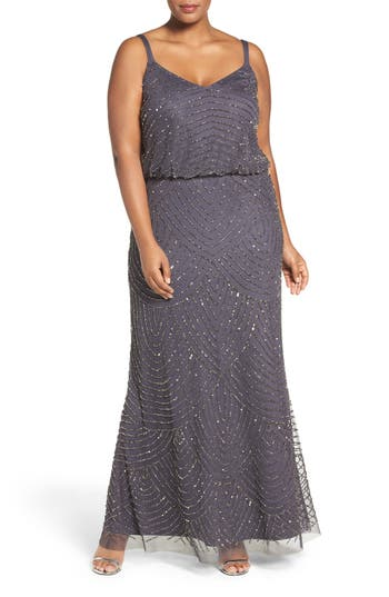 Plus Size Adrianna Papell Beaded Blouson Gown