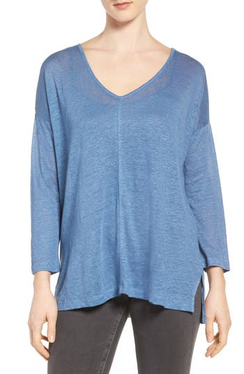 Two By Vince Camuto Seam Detail Linen Tee