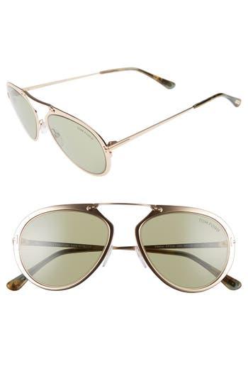 Women's Tom Ford Dashel 55Mm Sunglasses - Rose Gold/ Green Havana/ Green