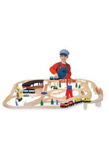 Boys Melissa  Doug 132Piece Wooden Railway Set