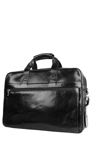 Bosca Double Compartment Leather Briefcase - Black