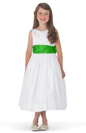Girls Us Angels White Tank Dress With Satin Sash Size 8  Green