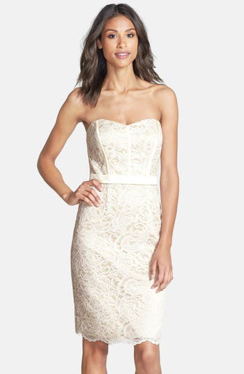 Dessy Collection Strapless Lace Overlay Matte Satin Dress, White