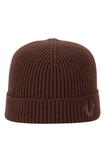 True Religion Brand Jeans Rib Knit Cap - Brown