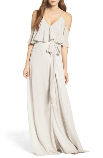 Ceremony By Joanna August Cold Shoulder Tie Waist Halter Gown