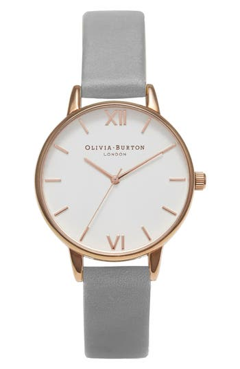 Olivia Burton Midi Dial Leather Strap Watch, 30mm