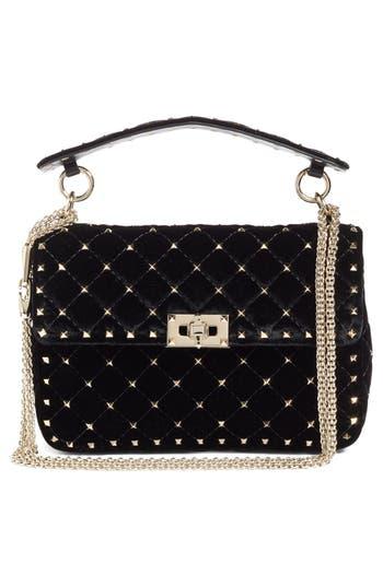 Valentino Garavani Rockstud Spike Velvet Shoulder Bag - Black