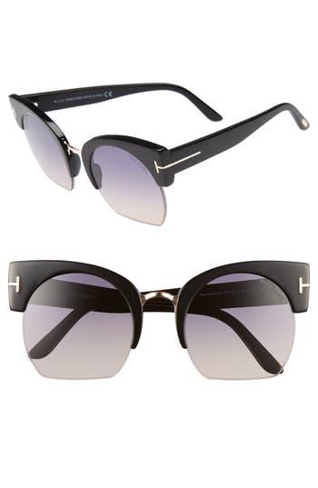 Tom Ford Savannah 55Mm Cat Eye Sunglasses - Shiny Black/ Gradient Blue