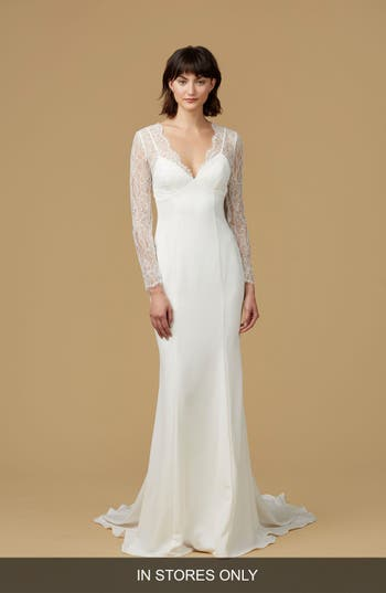 Nouvelle Amsale Easton Chantilly Lace & Crepe Mermaid Gown
