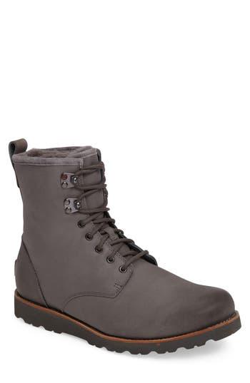 Ugg Hannen Plain Toe Waterproof Boot With Genuine Shearling, Grey