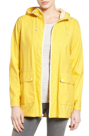 Women's Cole Haan Hooded Rain Jacket, Size X-Small - Yellow