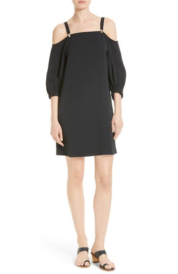 Tibi Cold Shoulder Suspender Shift Dress