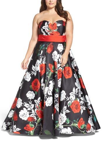 Plus Size MAC Duggal Rose Print Ballgown