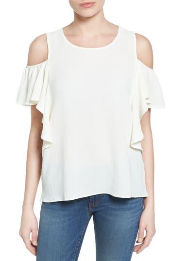 Women's Bobeau Cold Shoulder Ruffle Sleeve Top