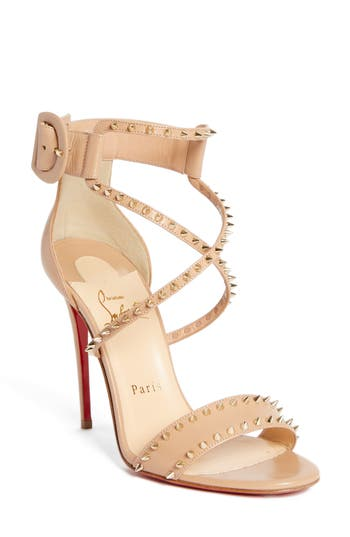 CHRISTIAN LOUBOUTIN Choca Criss Spike Sandal in Nude/ Gold