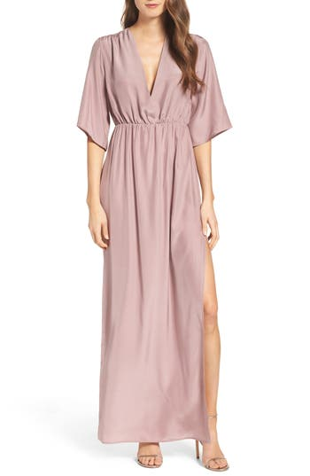 Natalie Deayala Collection Flutter Sleeve Silk Gown