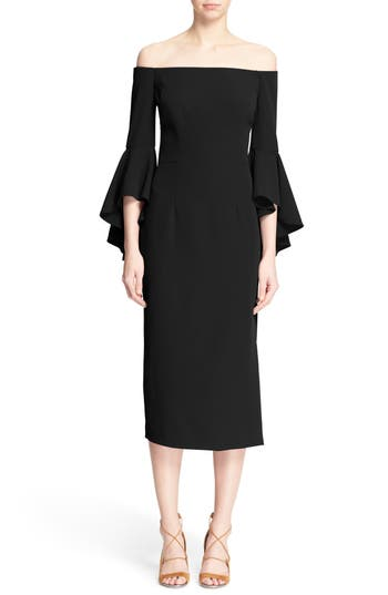 Milly Selena Off The Shoulder Midi Dress, Black