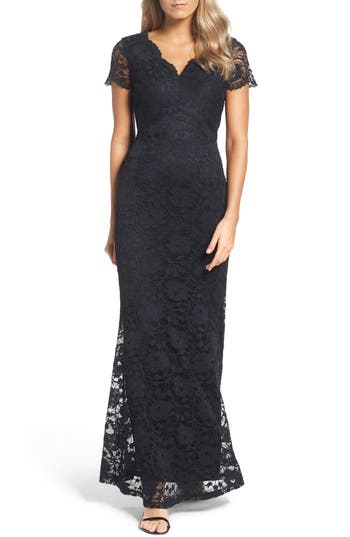 Ellen Tracy Lace Gown, Black