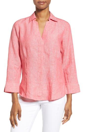 Foxcroft Linen Chambray Shirt, Pink
