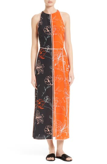 Women's Diane Von Furstenberg Colorblock Print Silk Maxi Dress