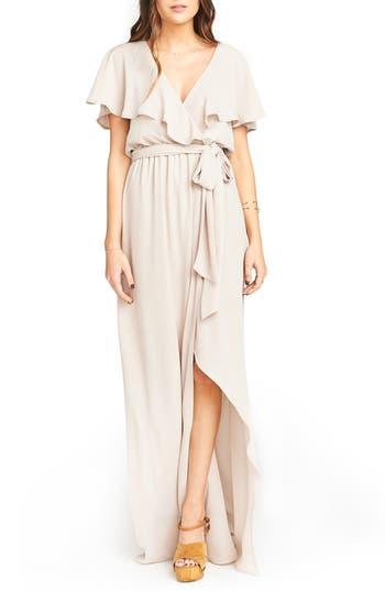 Show Me Your Mumu Audrey Ruffle Wrap Front Gown, Beige
