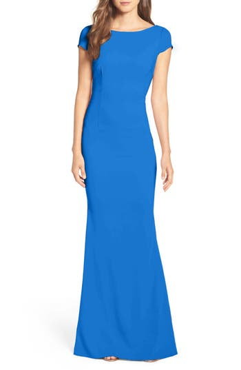 Katie May Plunge Knot Back Gown, Blue
