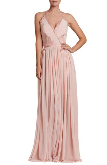 Dress The Population Chloe Lace & Chiffon Gown, Pink
