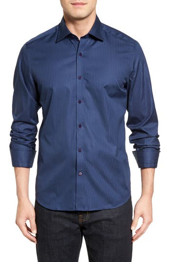 Men's Stone Rose Tonal Stripe Sport Shirt