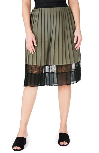 Plus Size Elvi Lace Hem Pleat Skirt