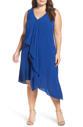 Plus Size Adrianna Papell Sleeveless Asymmetrical Front Drape Crepe Shift Dress, Blue