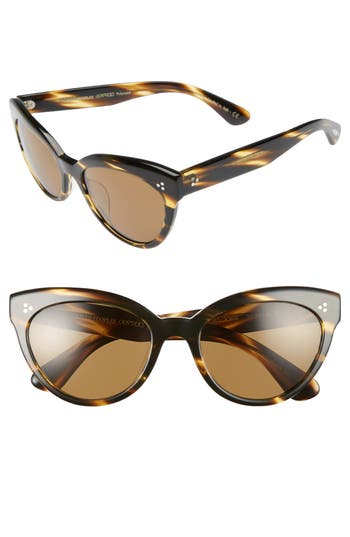 Women's Oliver Peoples Roella 55Mm Polarized Cat Eye Sunglasses - Brown