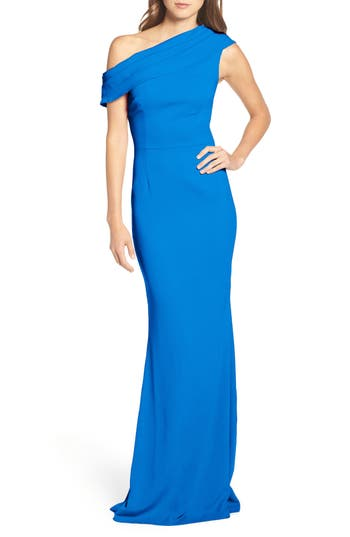 Katie May Layla Pleat One-Shoulder Crepe Gown, Blue