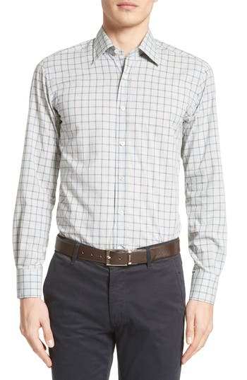 Men's Canali Regular Fit Windowpane Plaid Sport Shirt