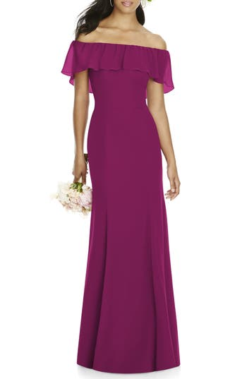 Social Bridesmaids Ruffle Off The Shoulder Chiffon Gown, Red