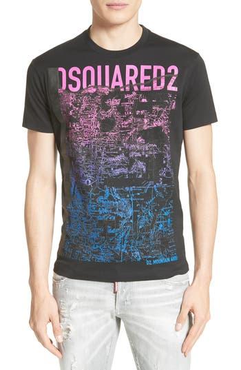 Dsquared2 Topographic Graphic T-Shirt, Black