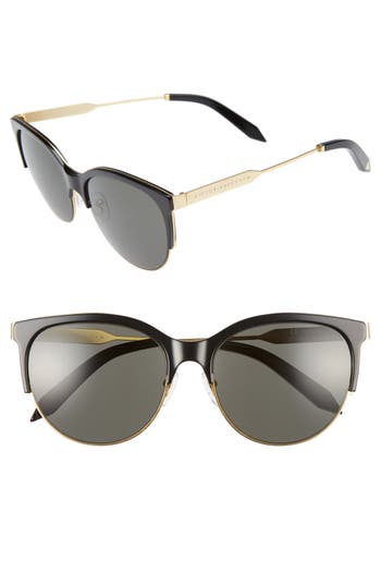 Victoria Beckham Layered Combination Kitten 55Mm Sunglasses - Black