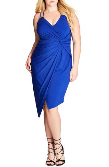 Plus Size Women's City Chic So Seductive Faux Wrap Dress, Size Medium - Blue