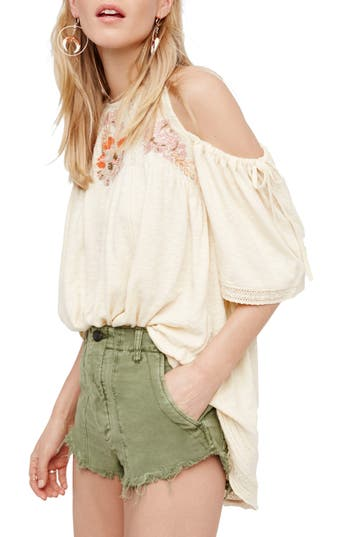 Free People Fast Times Cold Shoulder Top, Ivory