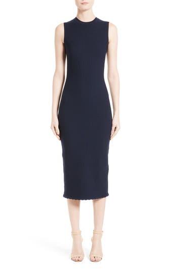 Victoria Beckham Wool Blend Knit Scallop Dress, Blue